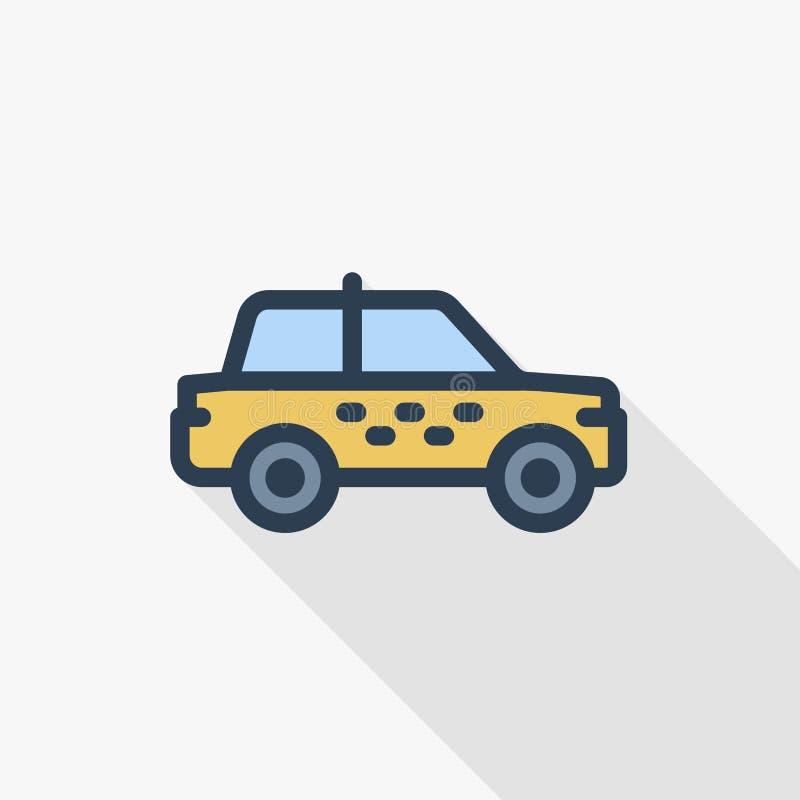 Linea sottile icona piana dell'automobile del taxi di colore Simbolo lineare di vettore Progettazione lunga variopinta dell'ombra illustrazione di stock