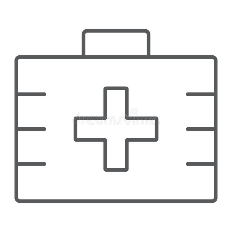 Linea sottile icona, salute e clinico della cassetta di pronto soccorso illustrazione vettoriale