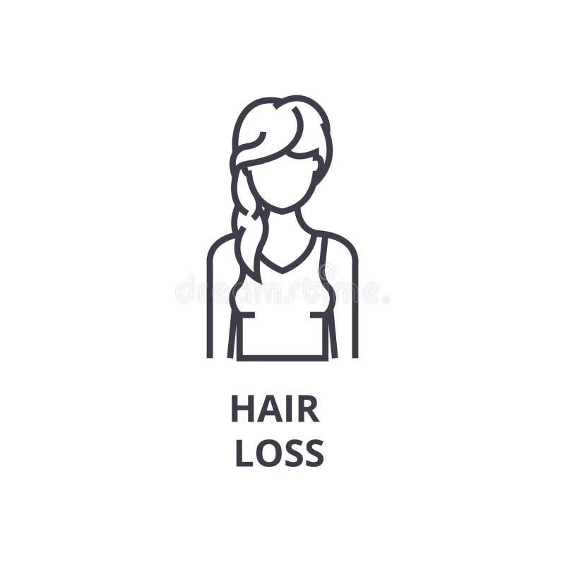 Linea sottile icona, segno, simbolo, illustation, concetto lineare, vettore di perdita di capelli illustrazione di stock
