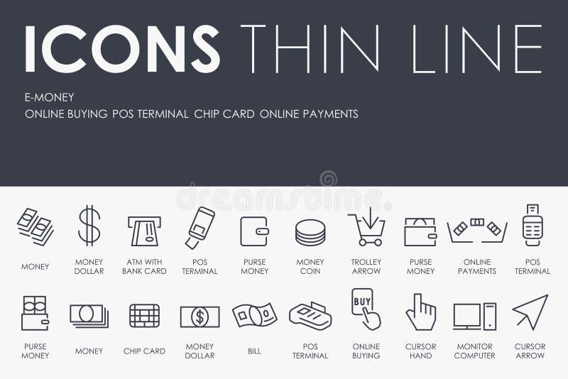 Linea sottile icone del denaro elettronico royalty illustrazione gratis
