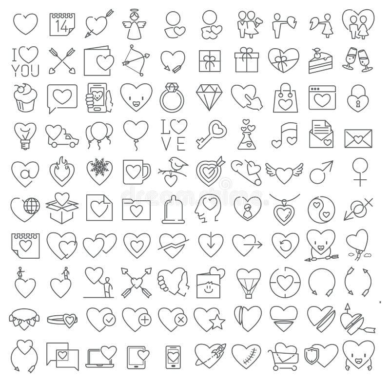 Linea sottile icone del vettore del biglietto di S. Valentino messe illustrazione di stock