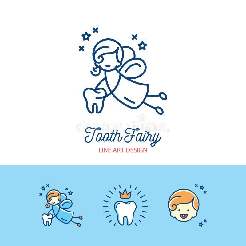 Linea sottile icone dell'odontoiatria dei bambini di logo del fatato di dente di arte illustrazione vettoriale