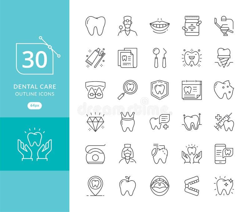 Linea sottile icone dell'odontoiatria di vettore illustrazione di stock