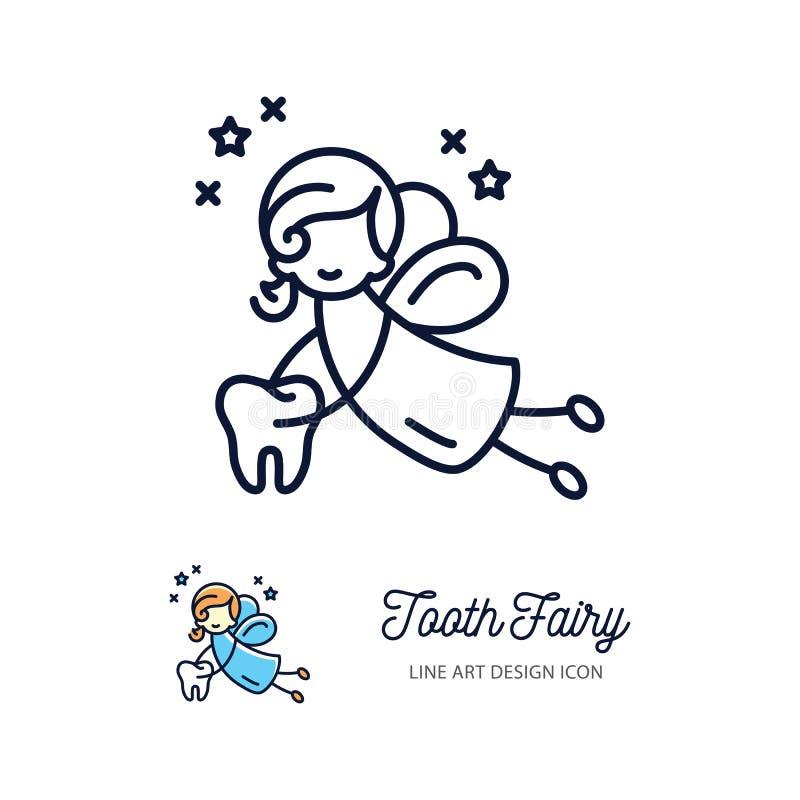 Linea sottile icone di arte, logo del fatato di dente dell'odontoiatria dei bambini illustrazione vettoriale