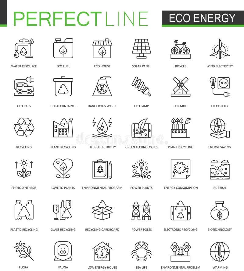 Linea sottile icone di energia di Eco di web messe Progettazione verde rinnovabile delle icone del colpo del profilo di tecnologi illustrazione di stock