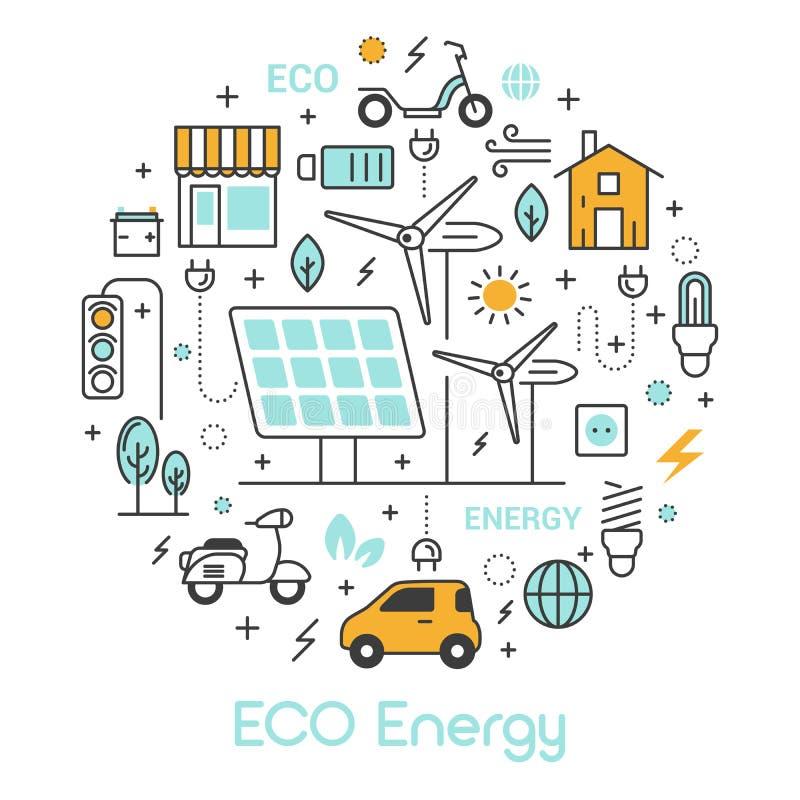 Linea sottile icone di energia di verde di ECO messe con la batteria solare ed il mulino a vento royalty illustrazione gratis
