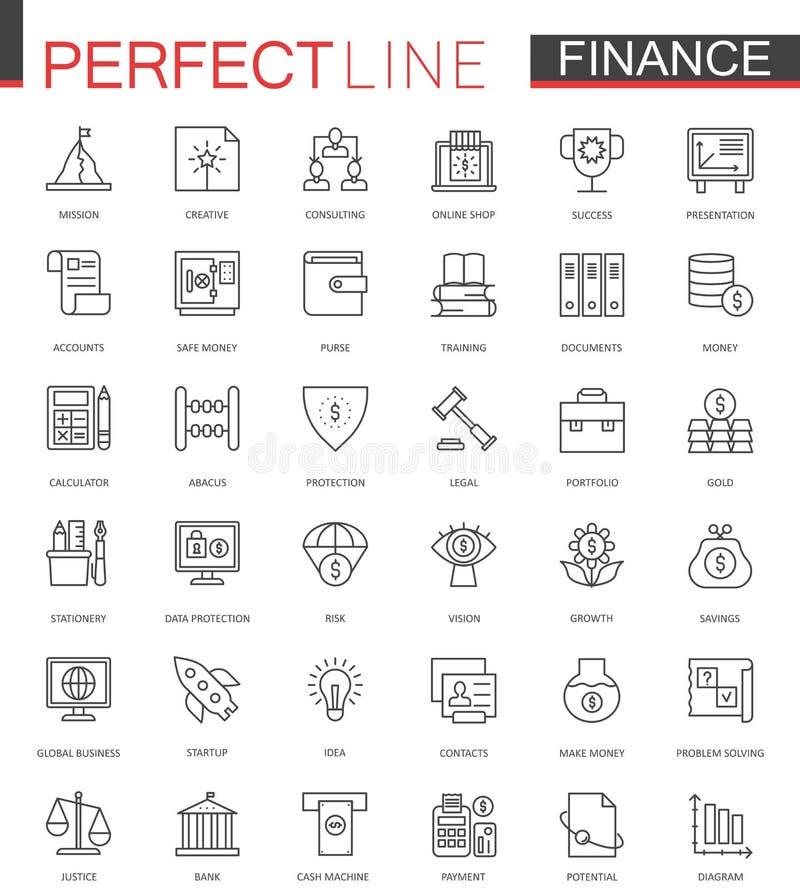 Linea sottile icone di finanza di affari di web messe Progettazione delle icone del colpo del profilo dei soldi illustrazione vettoriale