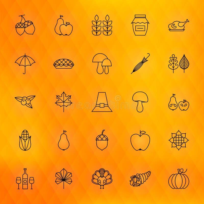 Linea sottile icone di giorno di ringraziamento messe illustrazione di stock