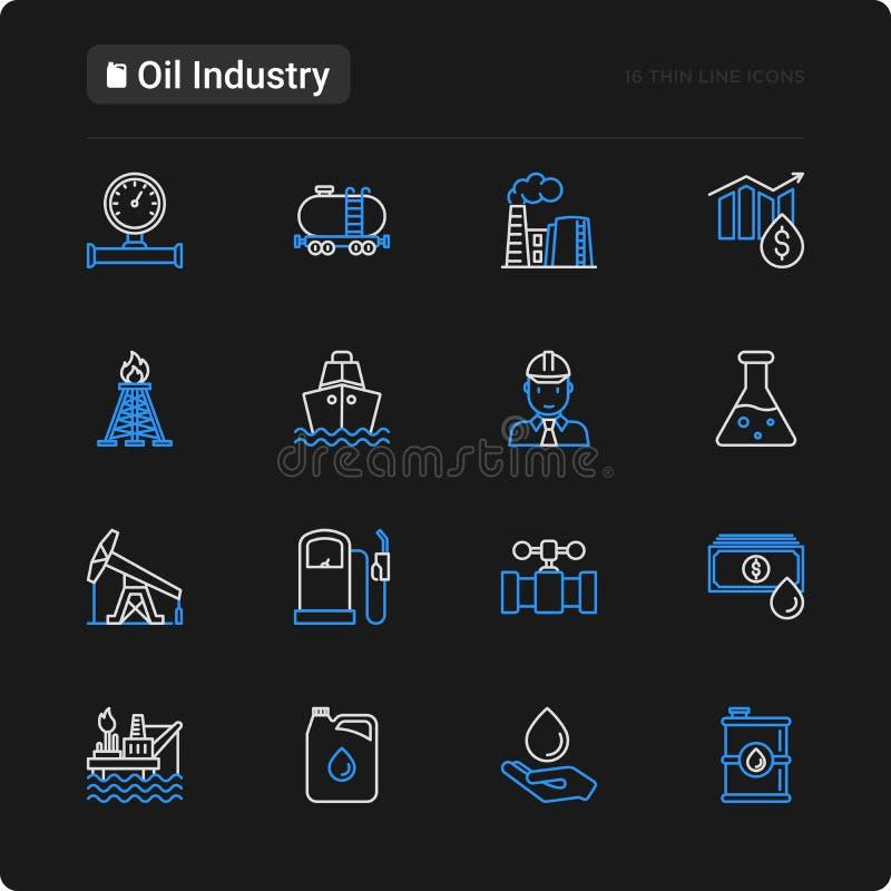 Linea sottile icone di industria petrolifera messe royalty illustrazione gratis