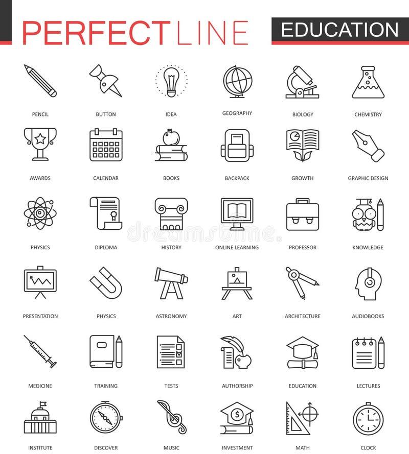 Linea sottile icone di istruzione dell'università della scuola di web messe Progettazione dell'icona del colpo del profilo royalty illustrazione gratis