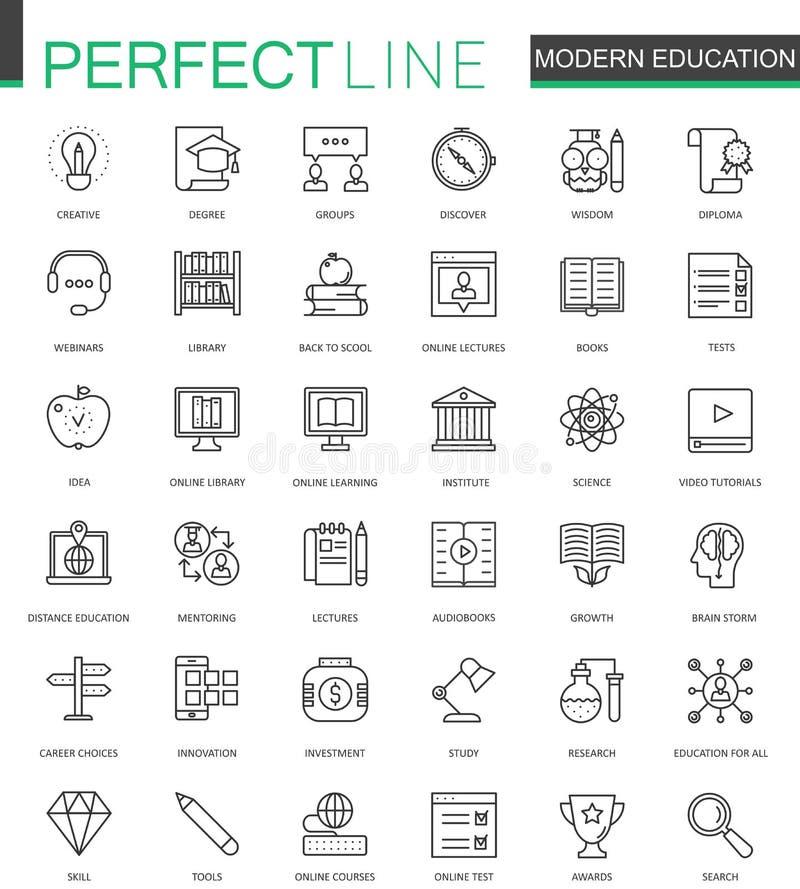 Linea sottile icone di istruzione moderna di web messe Video progettazione online delle icone del colpo del profilo di addestrame illustrazione vettoriale