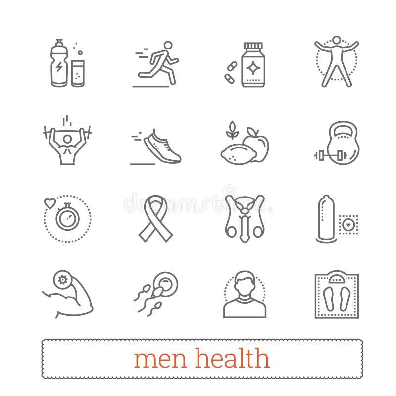 Linea sottile icone di salute degli uomini Attrezzatura di forma fisica, medicina maschio, stile di vita attivo, dieta sana, cons illustrazione di stock