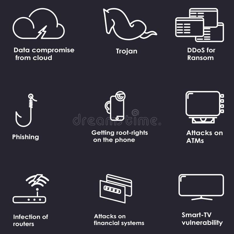 Linea sottile icone di sicurezza cyber messe fotografia stock libera da diritti