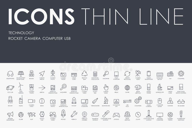 Linea sottile icone di tecnologia illustrazione di stock