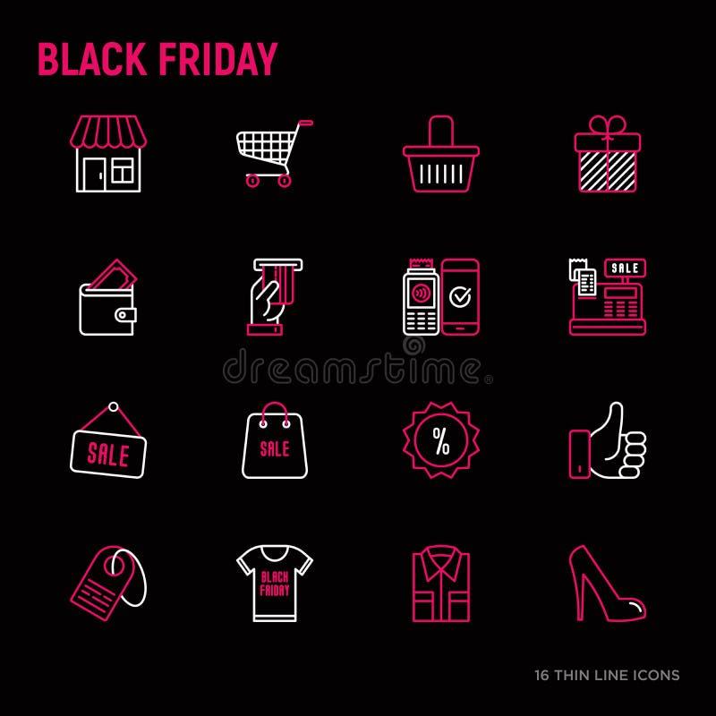 Linea sottile icone di vendita nera di venerdì messe illustrazione di stock
