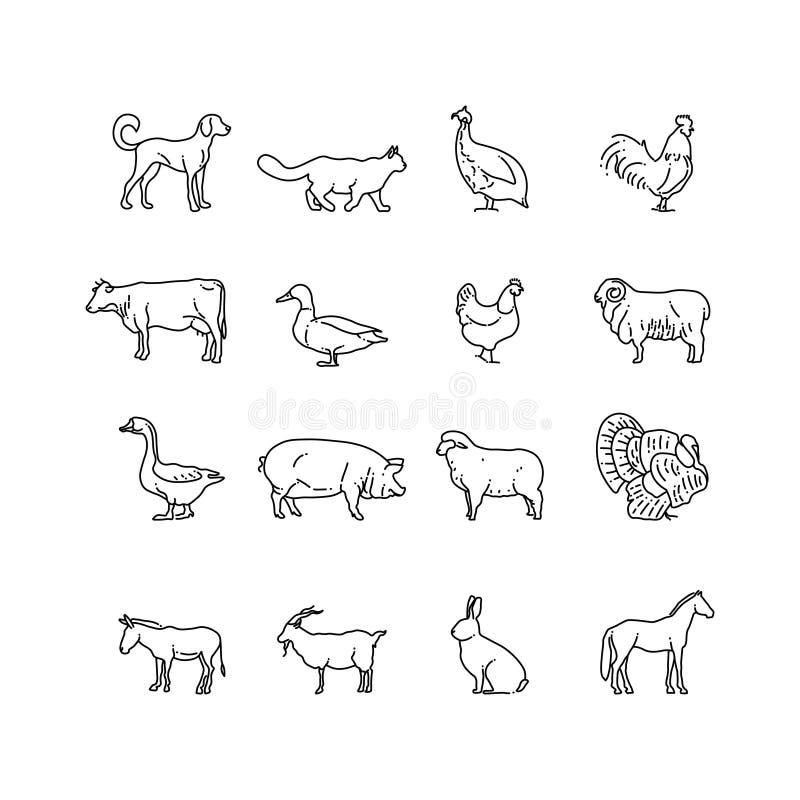 Linea sottile icone di vettore degli animali da allevamento messe Descriva la mucca, il maiale, il pollo, il cavallo, il coniglio illustrazione vettoriale