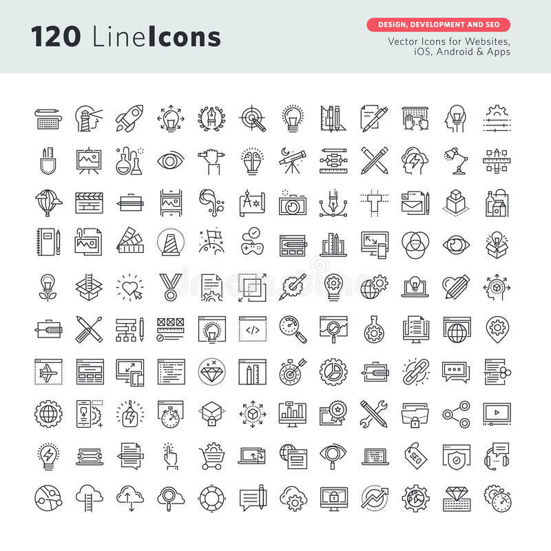 Linea sottile icone di vettore premio messe per progettazione grafica, progettazione del sito Web e sviluppo, sviluppo di app, se illustrazione vettoriale
