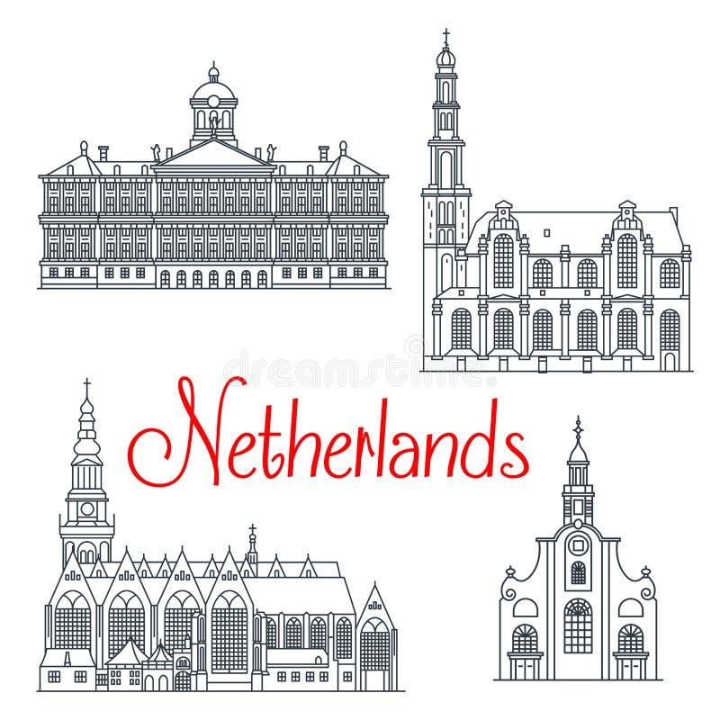Linea sottile icone di viaggio dei Paesi Bassi illustrazione di stock