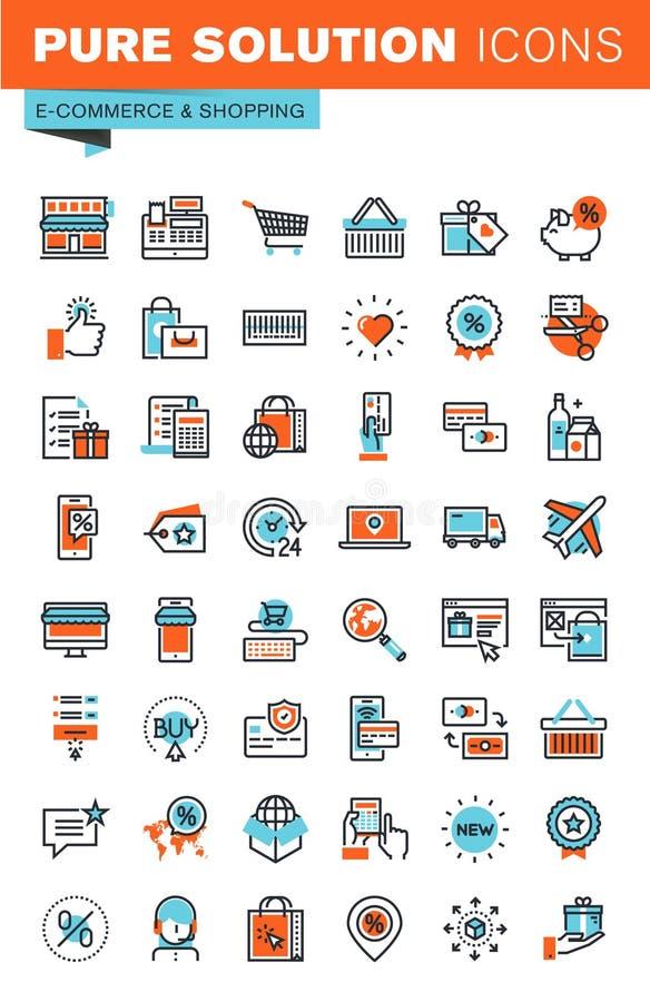 Linea sottile icone di web per il commercio elettronico e l'acquisto illustrazione di stock