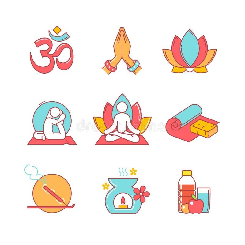 Linea sottile icone di yoga messe illustrazione vettoriale