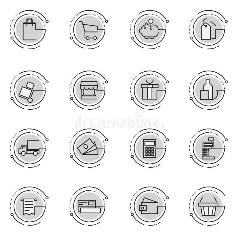 Linea sottile icone messe del commercio elettronico, acquisto, deposito, commercio illustrazione vettoriale