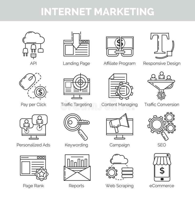 Linea sottile icone per l'introduzione sul mercato e il seo di Internet illustrazione di stock