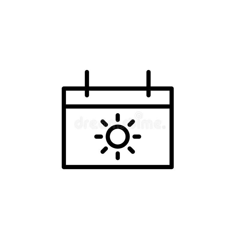 linea sottile il nero dell'icona del calendario di vacanza su fondo bianco royalty illustrazione gratis