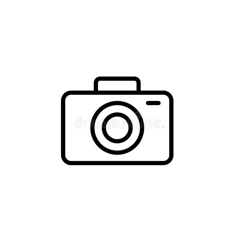 linea sottile il nero dell'icona della macchina fotografica su fondo bianco illustrazione di stock