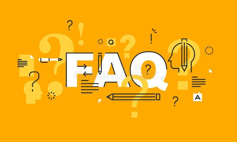 Linea sottile insegna piana di progettazione per la pagina Web del FAQ illustrazione vettoriale