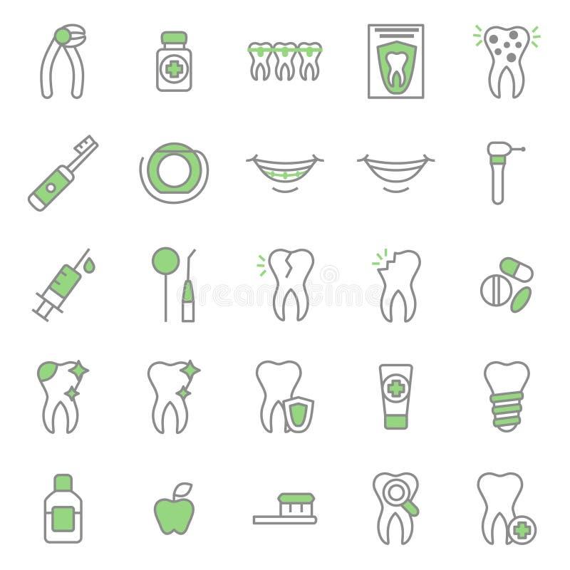 Linea sottile insieme del dente di cure odontoiatriche dell'icona Vettore illustrazione vettoriale