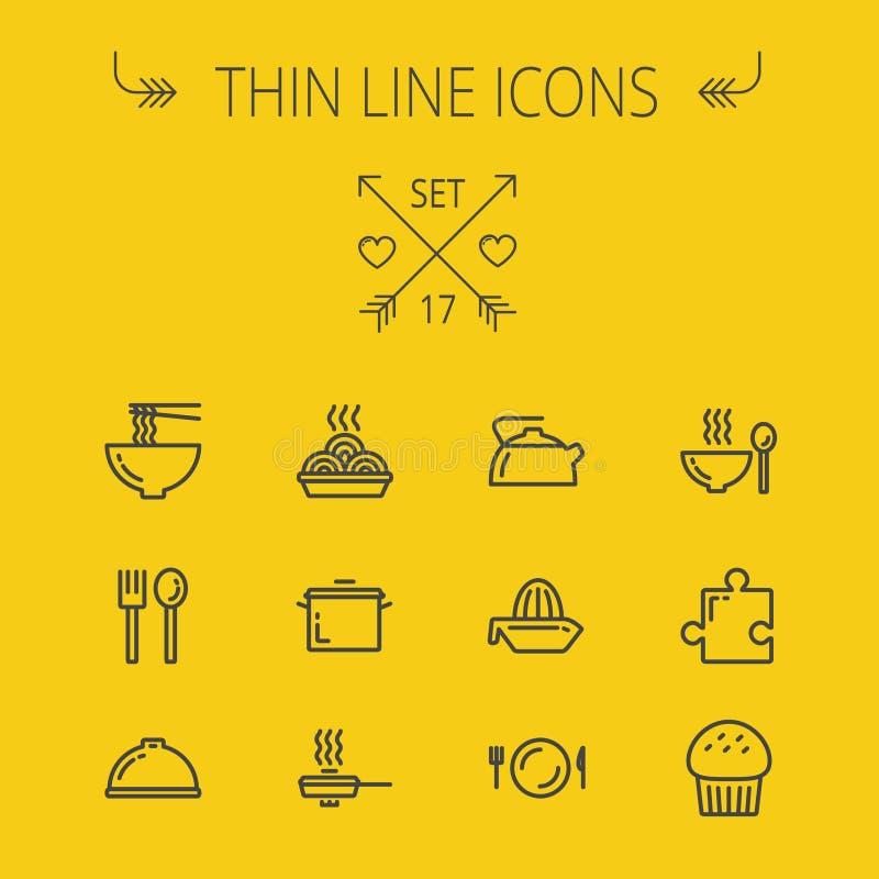 Linea sottile insieme dell'alimento dell'icona royalty illustrazione gratis