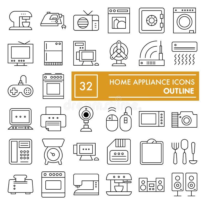 Linea sottile insieme dell'icona, simboli raccolta, schizzi di vettore, illustrazioni dell'elettrodomestico della famiglia di log illustrazione di stock