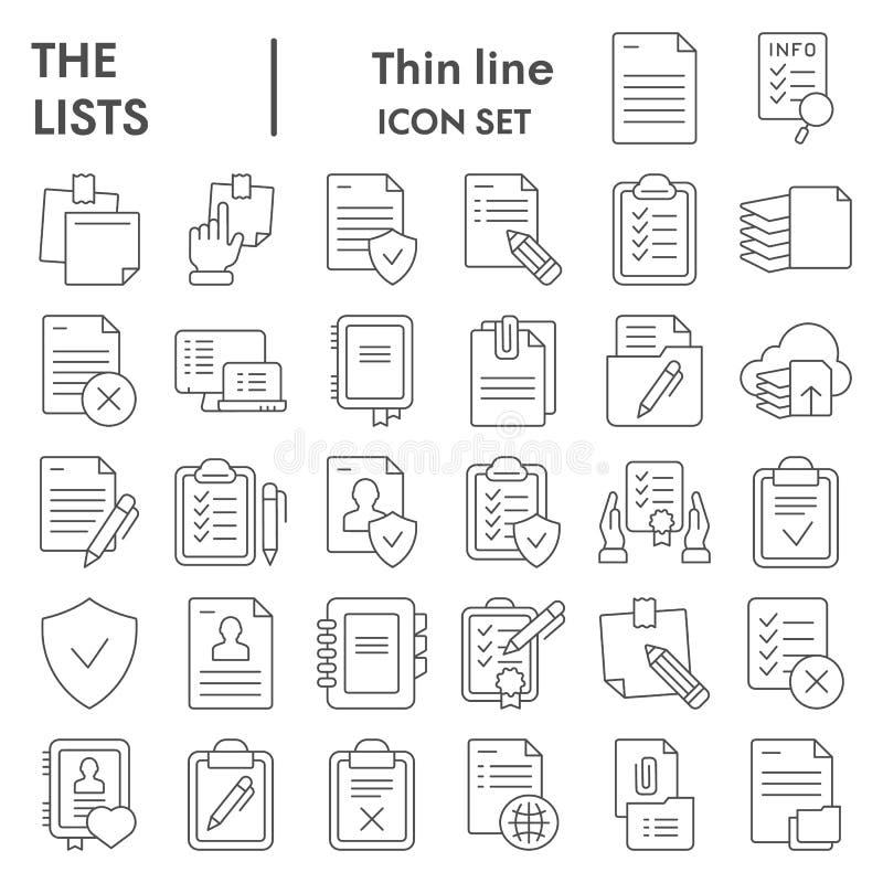 Linea sottile insieme dell'icona, simboli raccolta, schizzi di vettore, illustrazioni di logo, segni di carta delle liste dei doc illustrazione di stock
