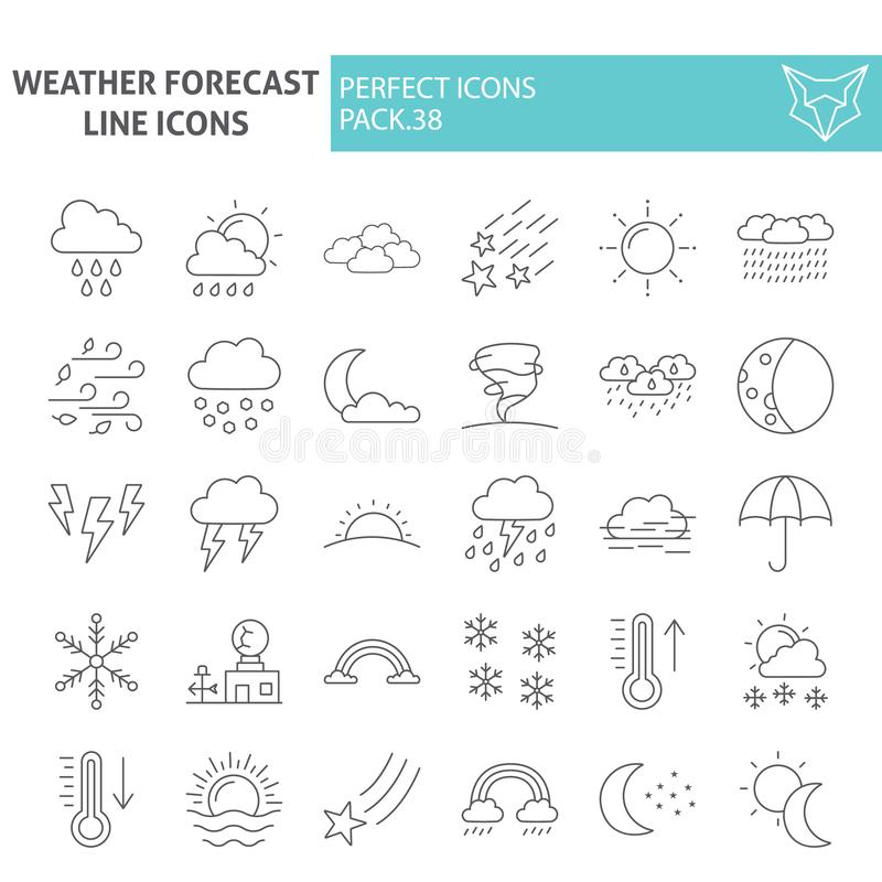 Linea sottile insieme dell'icona, simboli raccolta, schizzi di vettore, illustrazioni di logo, segni di previsioni del tempo di c royalty illustrazione gratis