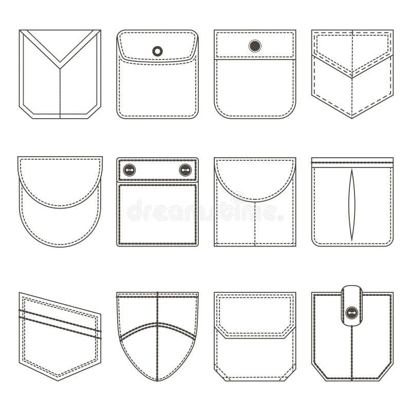 Linea sottile insieme della tasca dell'icona del nero Vettore illustrazione di stock