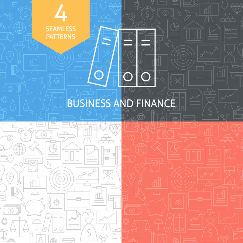 Linea sottile insieme di Art Finance Business Banking Patterns royalty illustrazione gratis