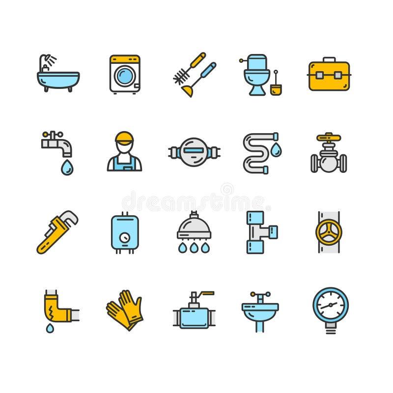 Linea sottile insieme di colore dei segni dell'impianto idraulico dell'icona Vettore royalty illustrazione gratis