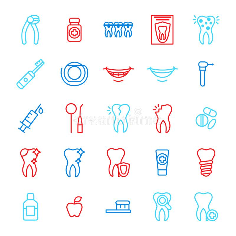 Linea sottile insieme di colore del dente di cure odontoiatriche dell'icona Vettore illustrazione di stock