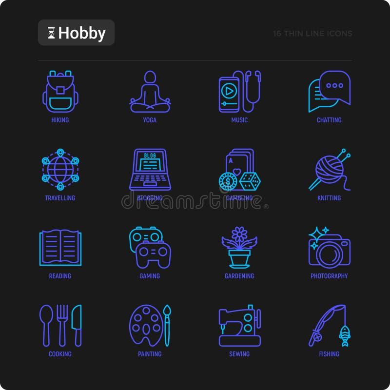 Linea sottile insieme di hobby delle icone: lettura, gioco, facente il giardinaggio, fotografia, cucinando, cucendo, pescare, fac royalty illustrazione gratis