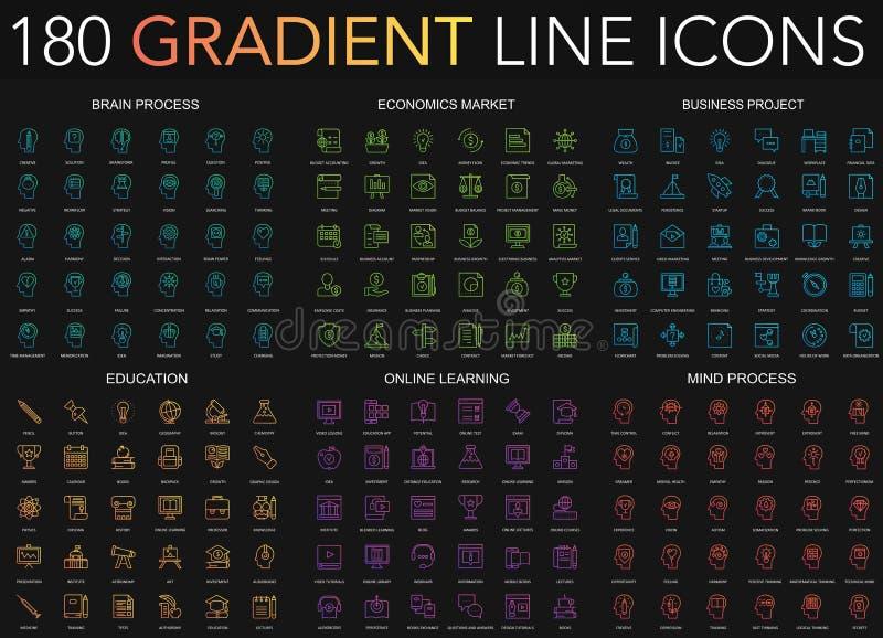 linea sottile insieme di stile d'avanguardia di pendenza 180 delle icone del processo del cervello, mercato di economia, progetto illustrazione di stock
