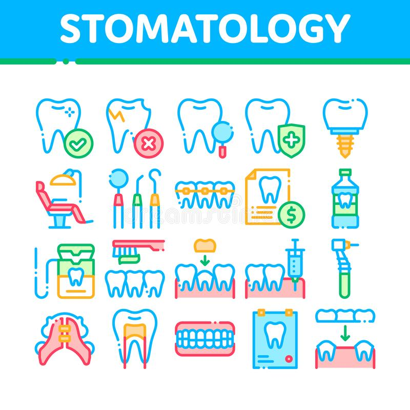 Linea sottile insieme di vettore della raccolta di stomatologia delle icone royalty illustrazione gratis