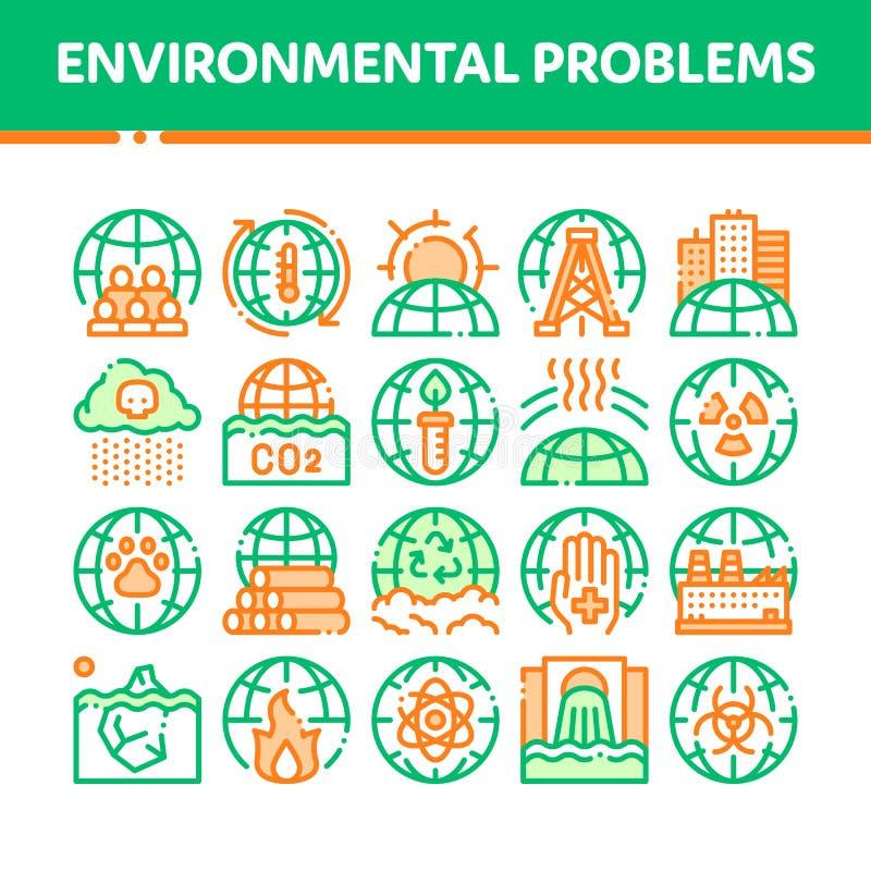 Linea sottile insieme di vettore di problemi ambientali delle icone royalty illustrazione gratis