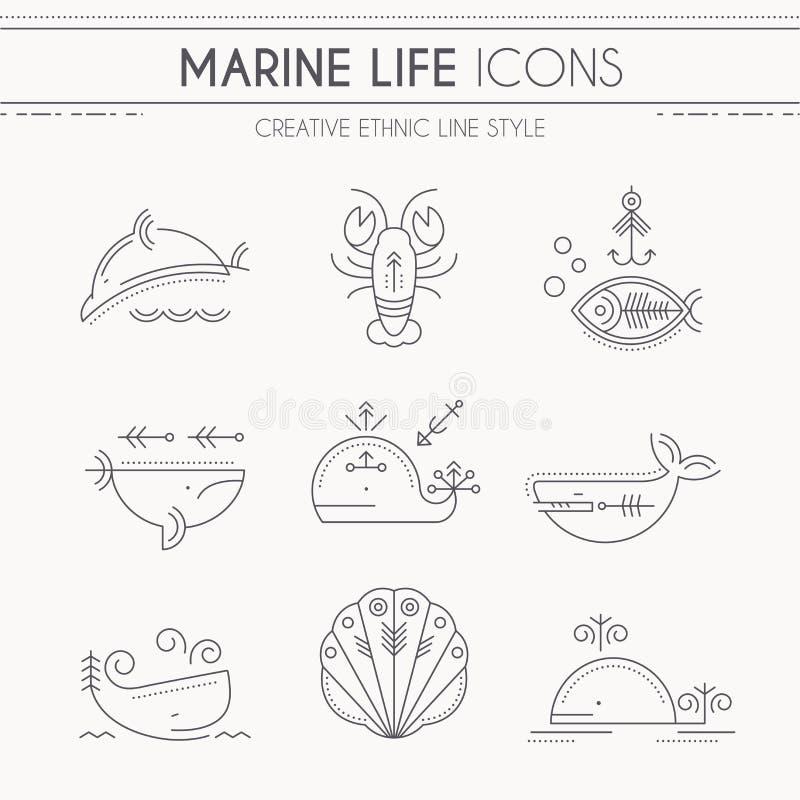 Linea sottile insieme di vita marina dell'icona illustrazione vettoriale