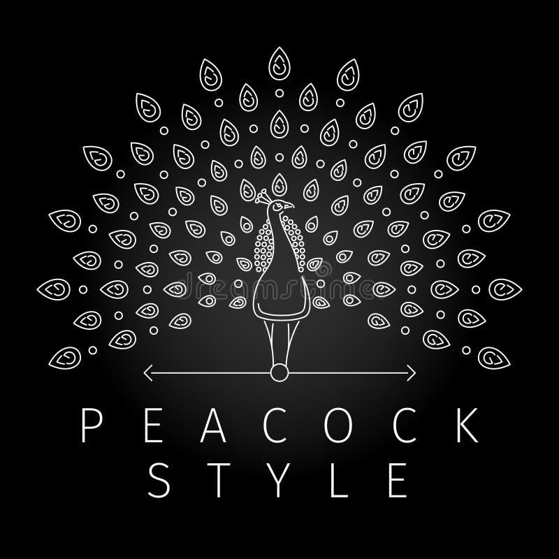 Linea sottile logo del pavone royalty illustrazione gratis