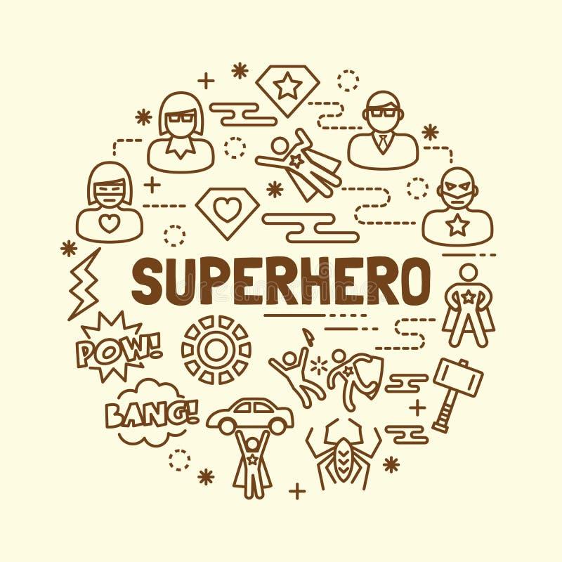 Linea sottile minima icone del supereroe messe royalty illustrazione gratis