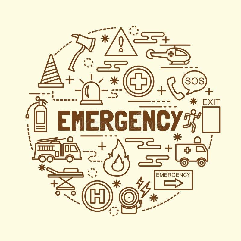 Linea sottile minima icone di emergenza messe illustrazione vettoriale