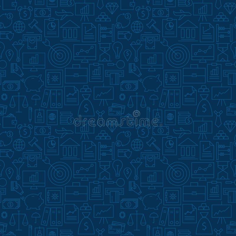 Linea sottile modello senza cuciture blu scuro di attività bancarie di finanza di affari royalty illustrazione gratis