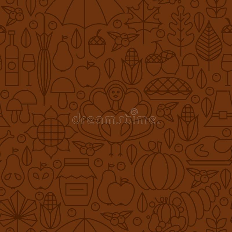Linea sottile modello senza cuciture di Brown di giorno di ringraziamento di festa illustrazione vettoriale
