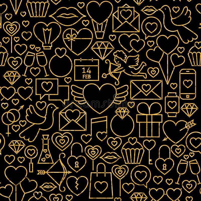 Linea sottile modello senza cuciture di giorno del ` s del biglietto di S. Valentino del nero dell'oro royalty illustrazione gratis