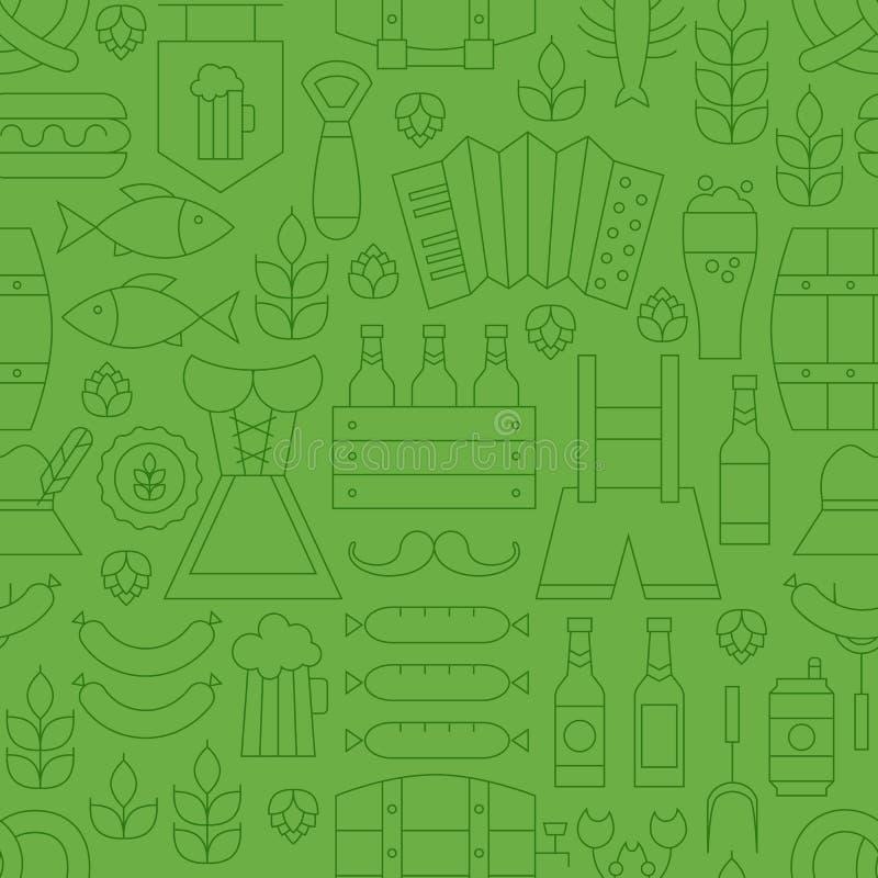 Linea sottile modello verde senza cuciture di festa di Oktoberfest illustrazione di stock